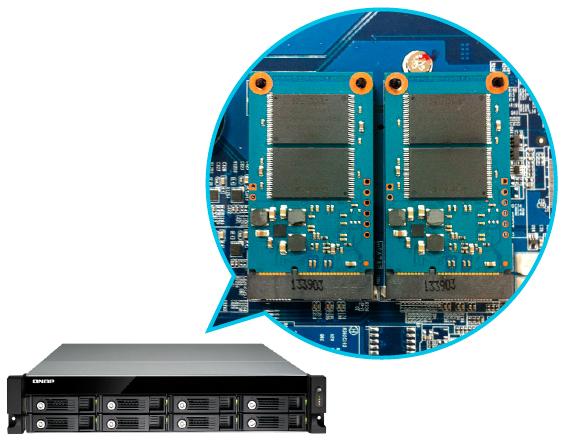 Cache interno para Aceleração de I/O TVS-871U-RP Qnap Storage Rack 8HDs NAS 48TB