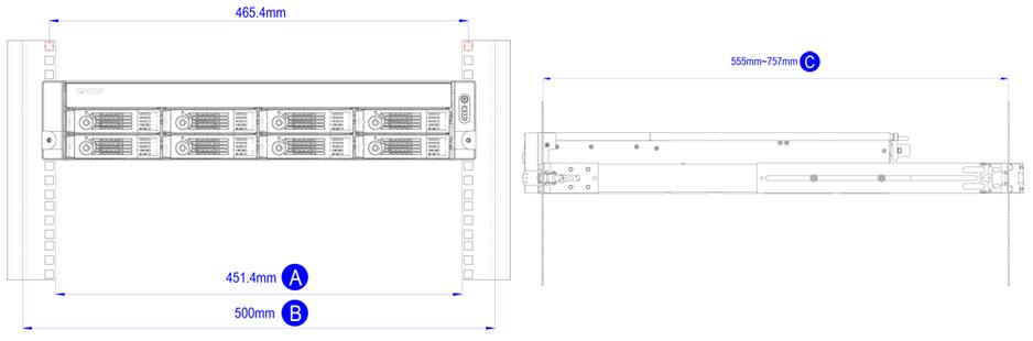 Medidas de Instalação TVS-871U-RP Qnap Storage Rack 8HDs NAS 48TB
