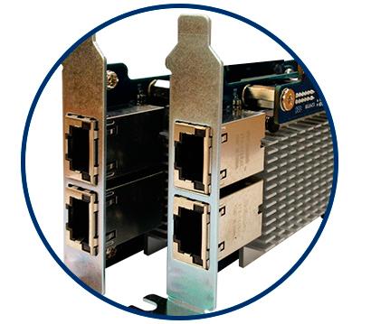 Portas LAN Gigabit preparada para 10GbE