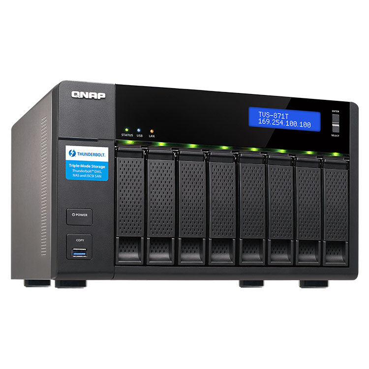 TVS-871T Qnap Storage Thunderbolt 2 8HDs NAS 48TB