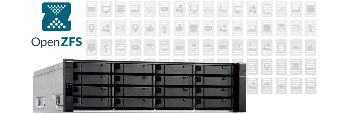 ES1640dc v2 Qnap com sistema de arquivos para armazenamento corporativo ZFS