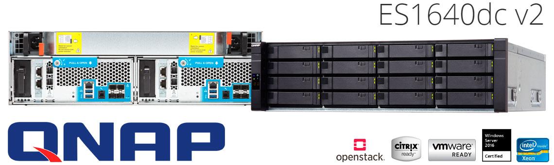 Qnap ES1640dc v2 Storage NAS para HDs SAS 12GB/s de alta disponibilidade e eficiência