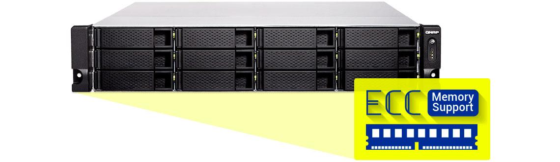 TS-1283XU-RP com memória ECC para evitar perda de dados