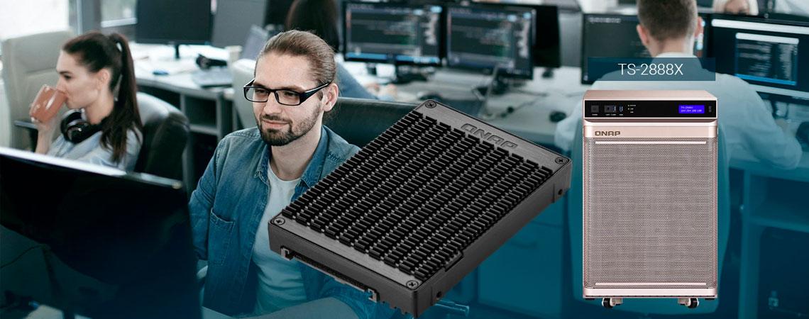 Reforce o adaptador M.2 PCIe NVMe SSD para U.2 no TS-2888x