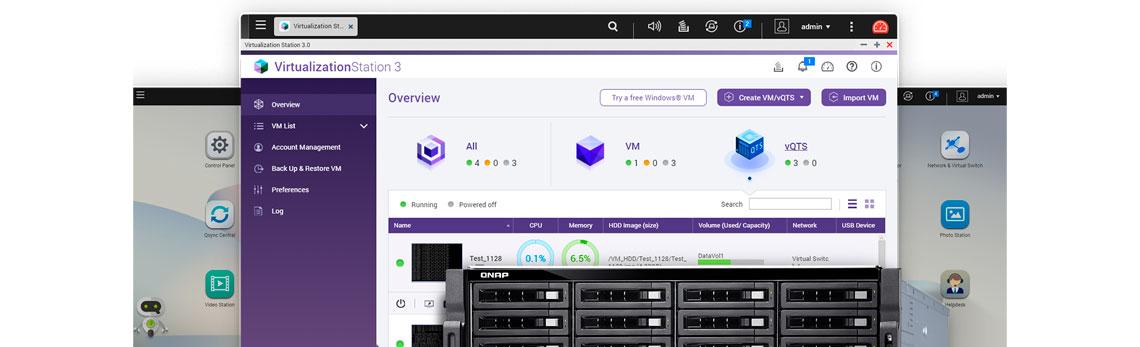 Hospedagem de vários sistemas QTS virtuais