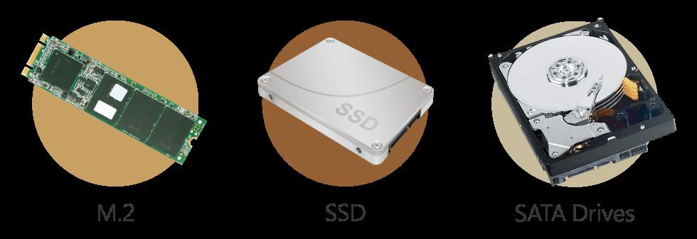 Otimização com Qtier e cache SSD com SATA M.2 e SSD de 2.5''