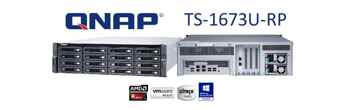 TS-1673U-RP NAS storage com 2 portas 10GbE SFP+ e 224TB de capacidade de armazenamento