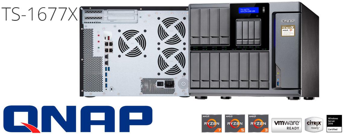 TS-1677X Qnap, storage NAS 16 baias com processador AMD Ryzen
