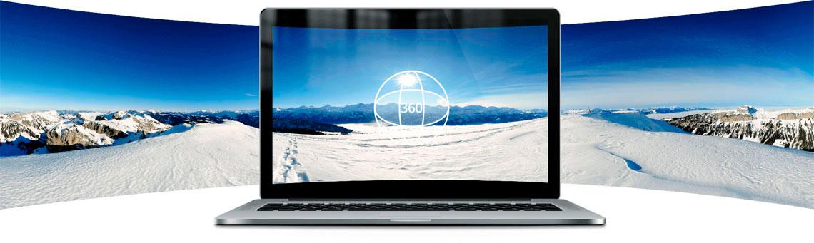 Exibição de fotos e vídeos em 360 graus