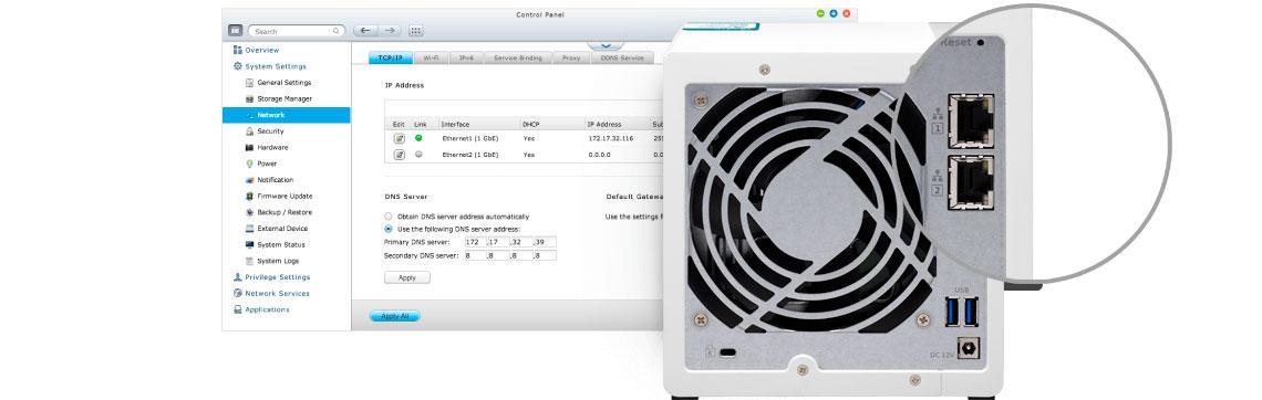 NAS com duas portas LAN e discos para trabalho com arranjos RAID