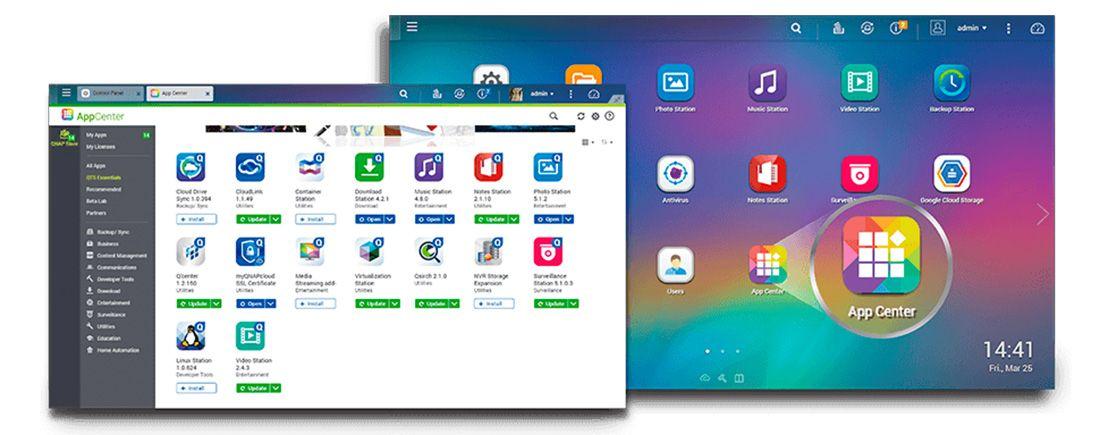 Instale aplicativos através do App Center para ampliar as funcionalidades do storage NAS