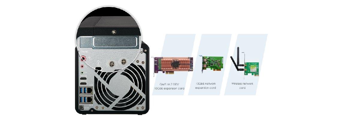 Slot PCIe para expandir as funcionalidade do Storage 4 baias QNAP