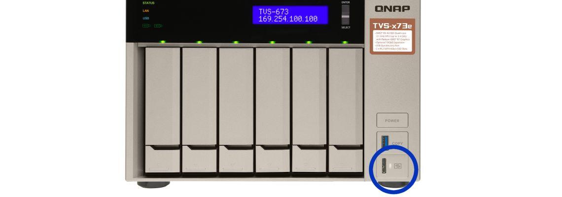 Fácil acesso aos arquivos com o QuickAccess USB no TVS-673e 84TB