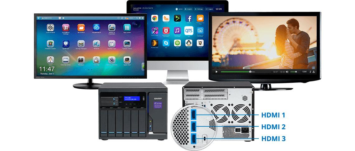 Três saídas de vídeo HDMI para HD Station ou Linux Station