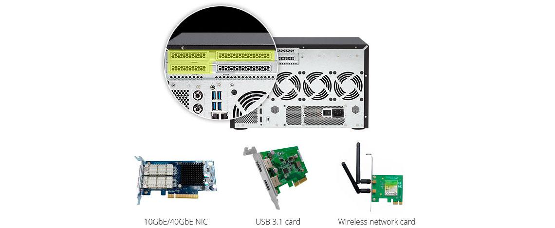 Três slots PCIe para diferentes tipos de aplicações em storage